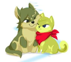Toon Wolf-Link and Shiba-Tetra by BeagleTsuin