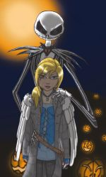 an Angel and a Skellington at Spiral Hill by Adne