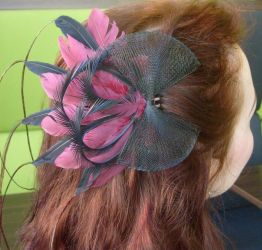 Bordeaux and black fascinator by fairyfrog