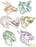 --+ Dragon Heads by TeaDino