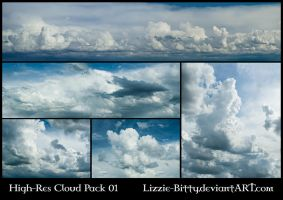High-Res Cloud Pack 01 by Lizzie-Bitty