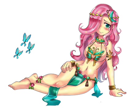 [Commission] Fluttershy Belly Dancer by iojknmiojknm