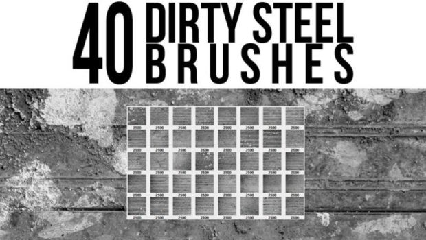 40 Dirty Steel Brushes by stockgorilla