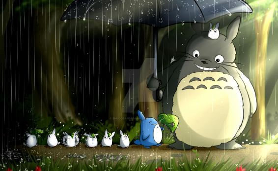 Totoro's Stroll in the Rain by Smudgeandfrank