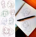 July Sketches - Traditional Portraits by AzizlaSwiftwind