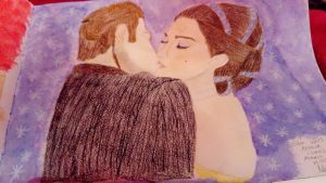 Star Wars : Anakin steals a kiss from Padme  by LouiseArt2016