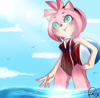 Beach Time with Amy Rose by zeldaprincessgirl100