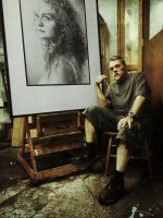 Artist with Drawing by arminmersmann