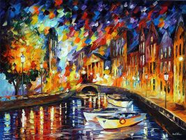 After The River Turns by Leonid Afremov by Leonidafremov