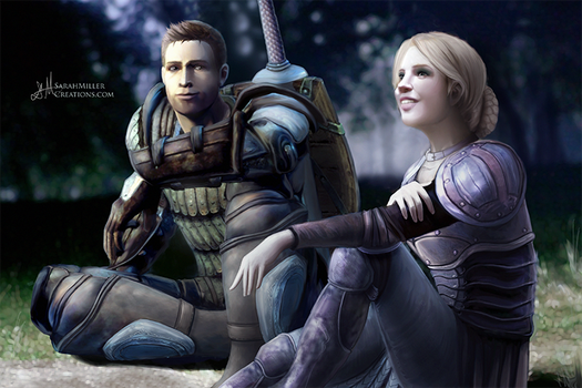 Myra Cousland and Alistair by SarahMillerCreations