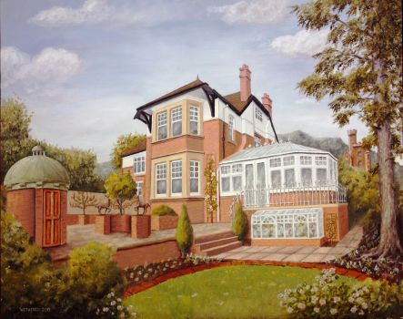 Oil on panel painting of a large Edwardian house by timwetherell