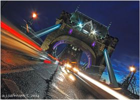 Tower Bridge Traffic Trails. by andy-j-s