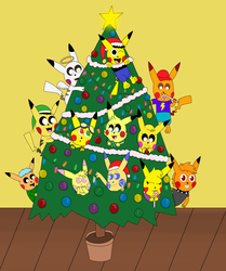12 Pikachus at the Christmas tree by pikachuandpichu106