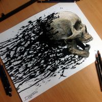 Skull Splatter Painting by AtomiccircuS