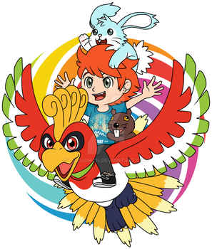 Folagor flies on Ho-oh with Hax and Castoro [GIFT] by Cachomon