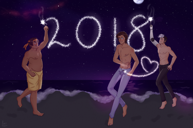 a new year [ hunk/lance/shiro +speedpaint ] by oh-no-Castiel