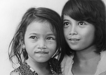 Pencil portrait of two girls from Da Lat by LateStarter63