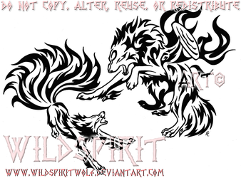 Amaterasu Vs. Kyuubi Tattoo by WildSpiritWolf