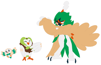 Rowlet, Dartrix and Decidueye Base by SelenaEde