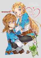Link and Zelda (for valentines!) by LaZoomaiga