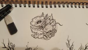 Mouse and floral fineline tattoo sketch by James-TripleAce