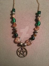 Beaded Bronze Pentacle Necklace by TheCraftyMaiden