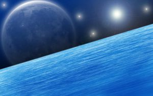 Sea, Space and Moon by SturmvogelPrime