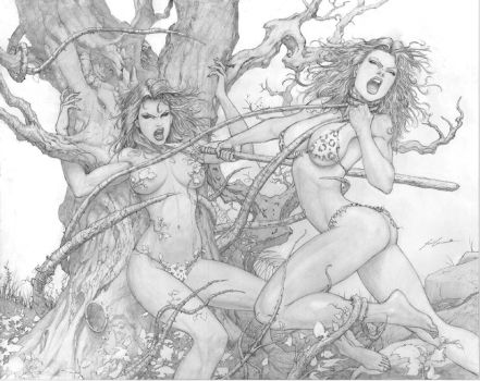 Poison Ivy vs. Cave Woman by ScottJc