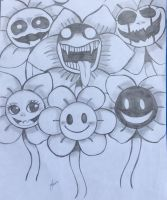Flowey the Flower Expressions  by TheCutestChubbyBear