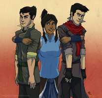 Korra and the boys by lycanthropeful