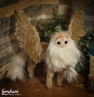 Gryphon poseable art doll owl tyto alba by Furrykami-creatures