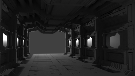 Space Station Hallway - UNFINISHED by sgtMarshall95
