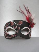Butterfly leather mask in black and red by maskedzone