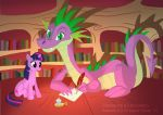 Spike and Twilight Sparkle by Crazy-Dragon