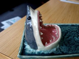 Shark Plate, New Glaze! (close up) by aviceramics