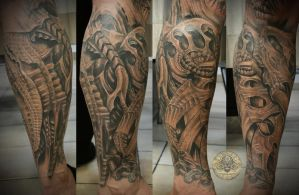 biomech freehand sleeve fin2 by 2Face-Tattoo