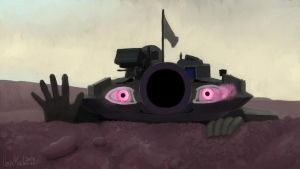 T-90 has scary eyes by VonKickass
