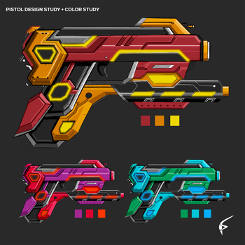 Pistol Design Study + Color Study by ArtOfPhilip