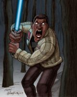 Finn Lightsaber Stance by Stnk13