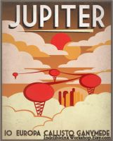 Retro Sci-Fi Jupiter Travel Poster by IndelibleInkWorkshop