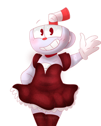 Cuphead in a dress by NekoSugarStar