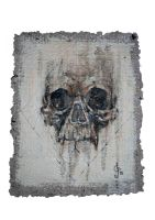 skull study on home made paper #1 by aliceinsane