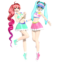 Cheer Teto and Cheer Miku by Sangabc