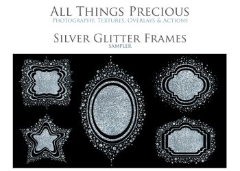 Silver Confetti And Glitter Frames by AllThingsPrecious