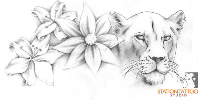 floral lioness by CaPtIne