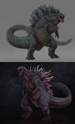 Two Godzillas by he-burrows