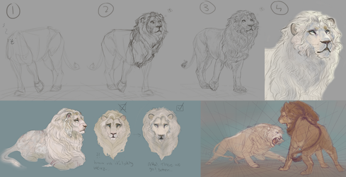 Sketching lions by Roiuky