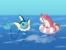 Vaporeon and Furret by EvanDaMaster
