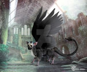 Trico, Last Guardian, with big dark wings by hon-anim