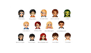 Percy Jackson Characters by lilxmissxangel